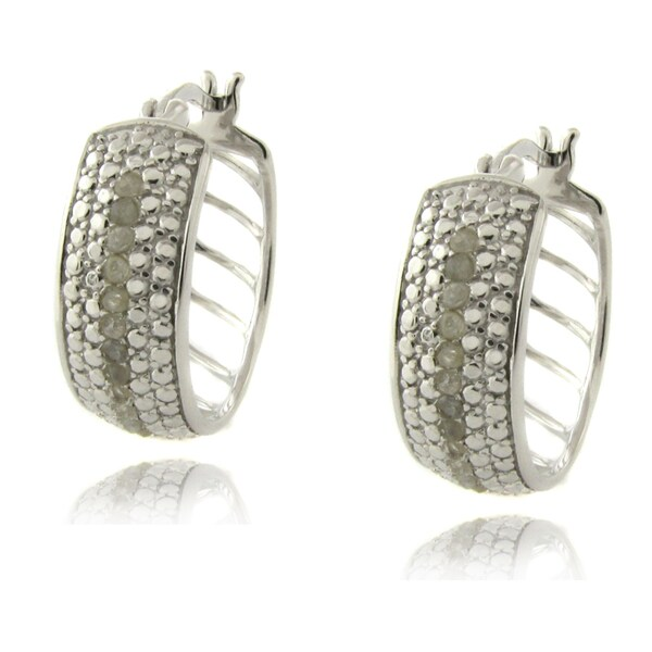 Finesque Sterling Silver 1/4ct TDW Diamond Accent Hoop Earrings