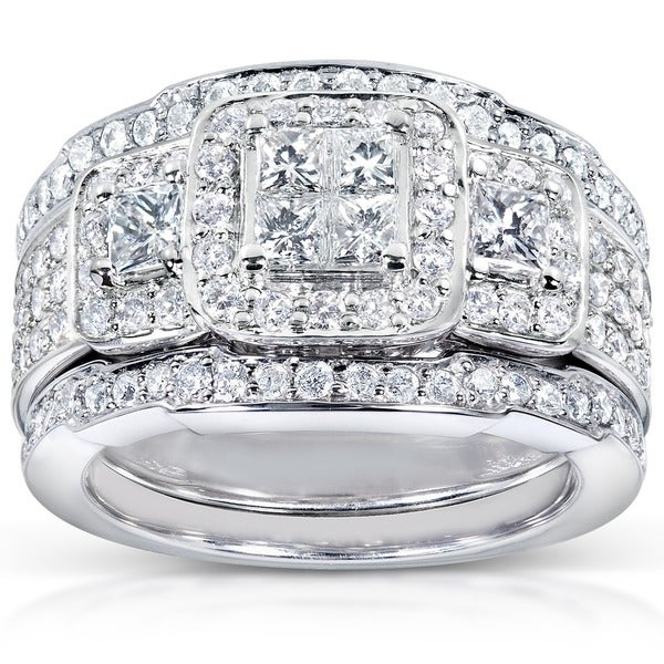 Annello 14k White Gold 1 1/3ct TDW Diamond 3-piece Bridal Ring Set - White Gold