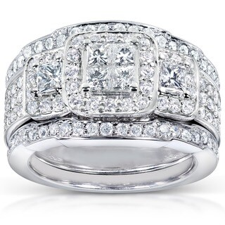 Annello 14k White Gold 1 1/3ct TDW Diamond 3-piece Bridal Ring Set - White Gold (More options available)
