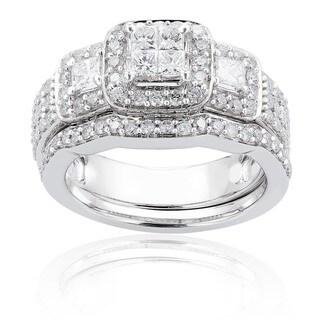 Annello by Kobelli 14k White Gold 1 1/6ct TDW Diamond Bridal Ring Set