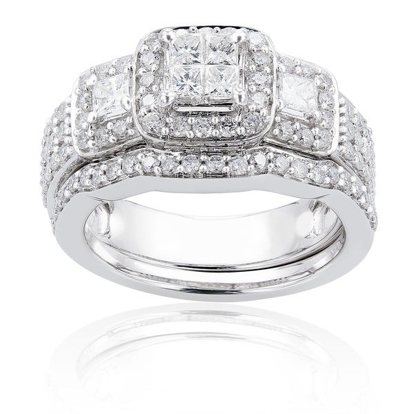 Annello by Kobelli 14k White Gold 1 1/6ct TDW Diamond Bridal Ring Set