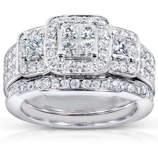 Annello By Kobelli 14k White Gold 1 1 6ct TDW Diamond Bridal Ring Set