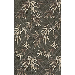 Indoor/ Outdoor South Beach Green Leaves Rug (3'9 x 5'9)