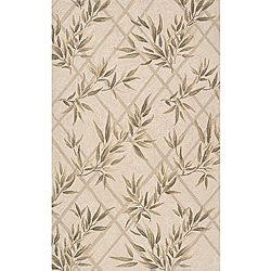 South Beach Indoor/Outdoor Ivory Leaves Rug (2' x 3')