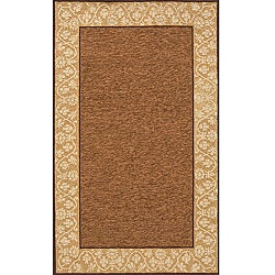 South Beach Indoor/Outdoor Brown Floral Border Rug (3'9 x 5'9)