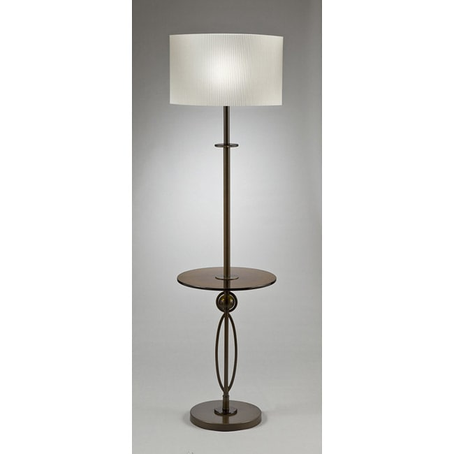 Transitional 1-light Floor Lamp in Bronze with Table