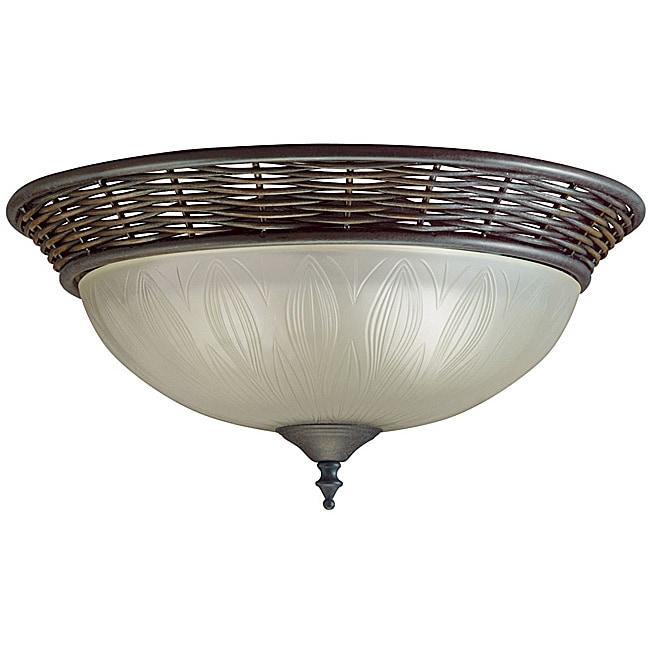 Transitional Bronze 2-light Flush Light Fixture