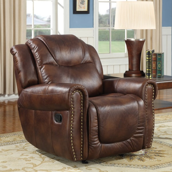 witiker brown faux leather rocker reclining chair - Leather Rocker Recliner