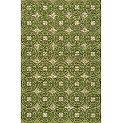 South Beach Indoor/Outdoor Green Celebration Rug (3'9 x 5'9)