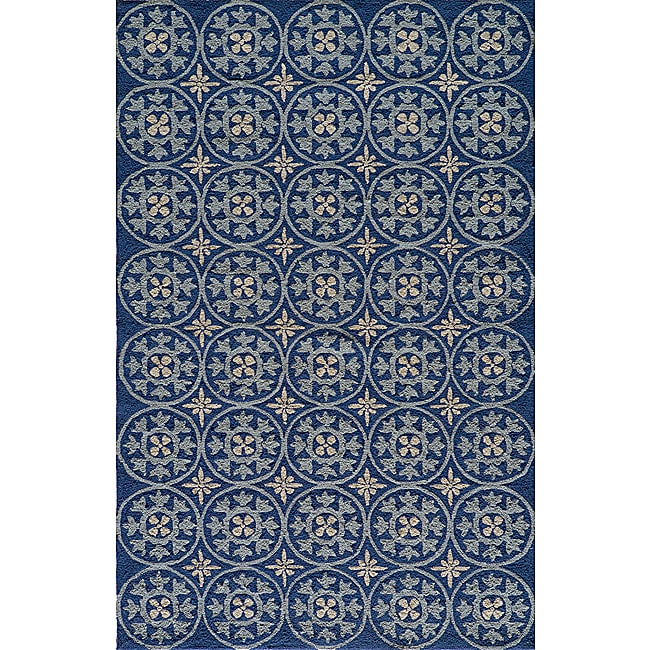 Momeni Veranda Blue Plaza Tile Indoor/Outdoor Rug - 8' X 10'