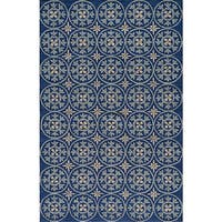 Momeni Veranda Blue Plaza Tile Indoor/Outdoor Rug (5' X 8') - 5' x 8'