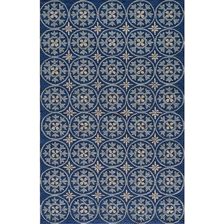 Momeni Veranda Blue Plaza Tile Indoor/Outdoor Rug (5' X 8')