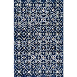 South Beach Indoor/Outdoor Blue Celebration Rug (2' x 3')