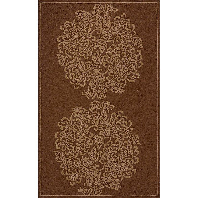 Indoor/ Outdoor South Beach Brown Bouquet Rug (2' x 3')