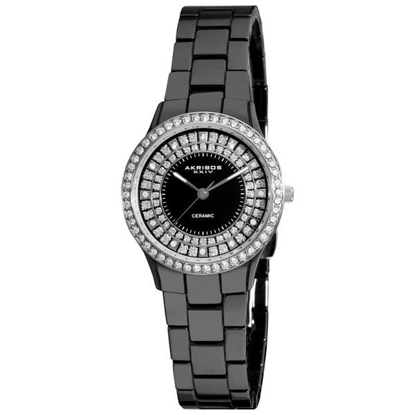 Akribos XXIV Women's Slim Ceramic Silvertone Bezel Quartz Watch