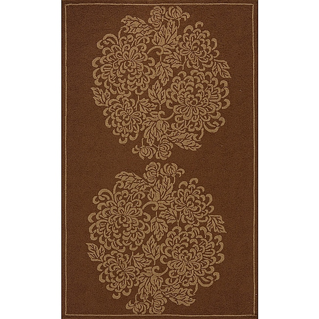 Indoor/ Outdoor South Beach Brown Bouquet Rug (3'9 x 5'9)