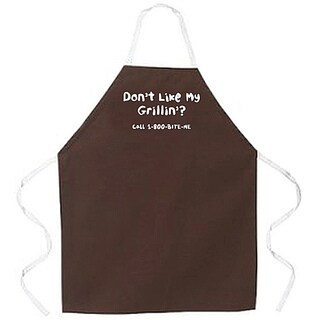'Don't Like My Grillin, Call 1-800 Bite Me' Apron-Brown