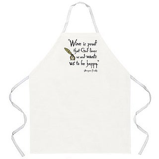 'Wine is Proof That God Loves Us And Wants Us To Be Happy' Apron-Natural