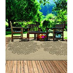 Indoor/ Outdoor South Beach Sage Bouquet Rug (8' x 10') - Thumbnail 2