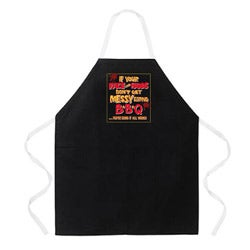 'Messy Eating BBQ' Apron-Black