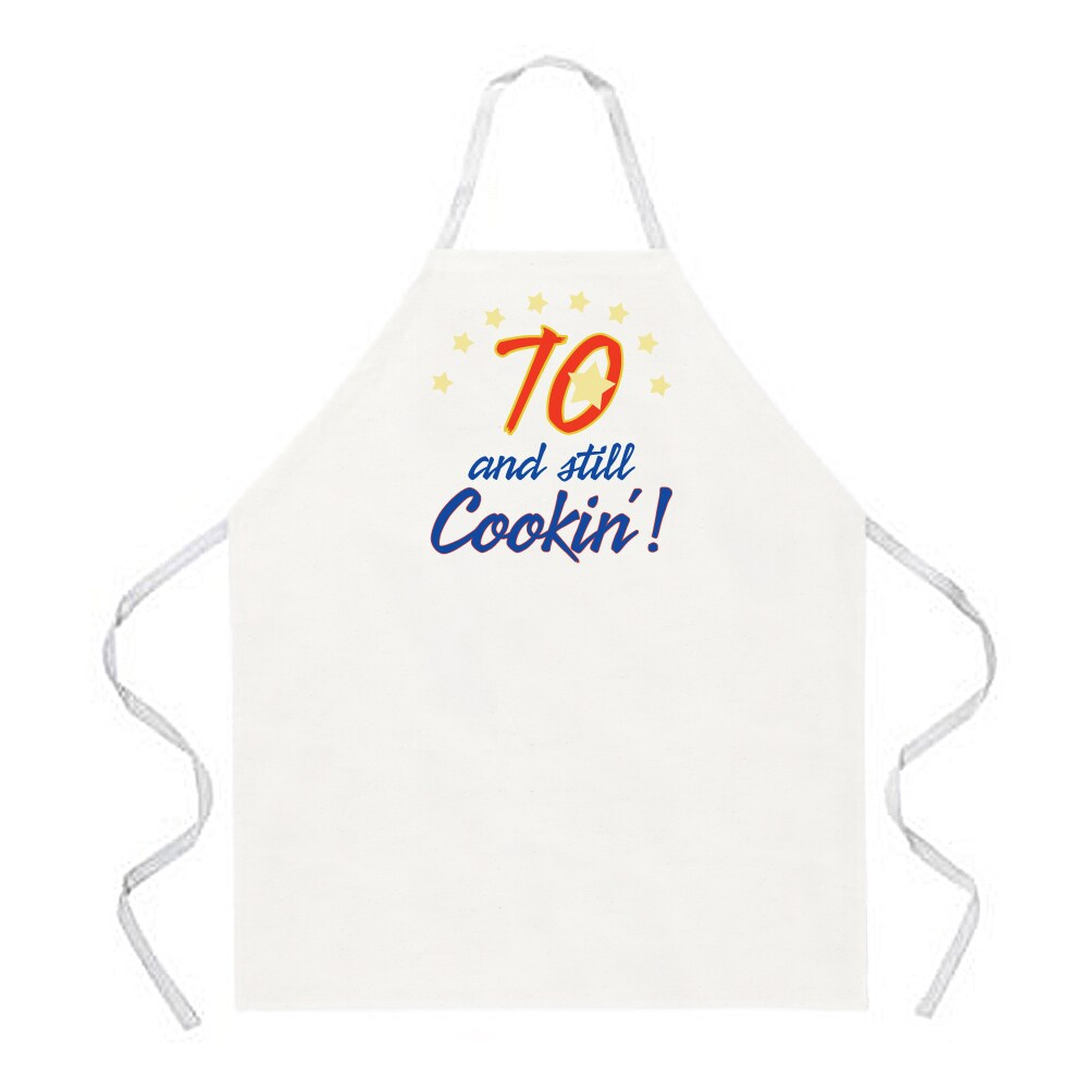 '70 and Still Cookin' Apron-Kitchen White
