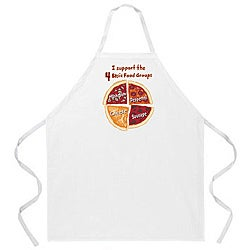 Attitude Aprons 'Pizza Food Groups' White Apron