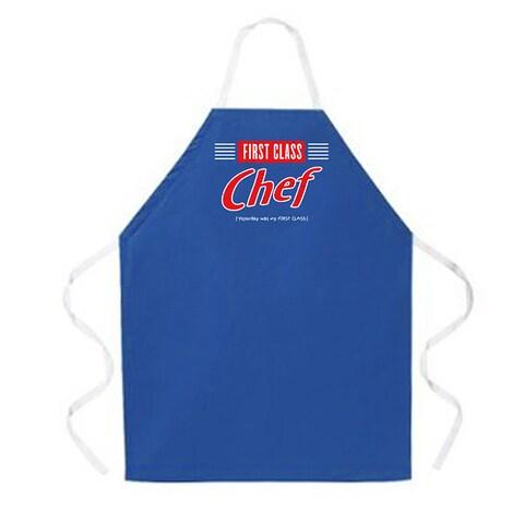 'First Class Chef' Kitchen Apron-Dark Blue