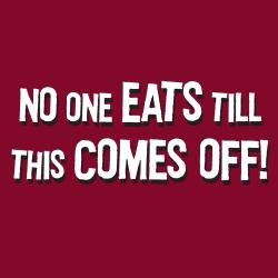 'No One Eats Til This Comes Off' Apron-Maroon - Thumbnail 1