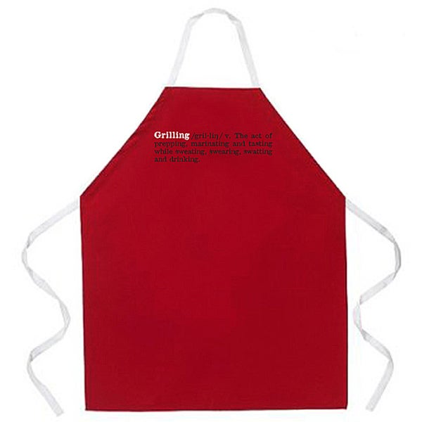 'Grilling Definition Apron-Red