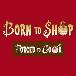 'Born to Shop Forced To Cook' Apron-Red - Thumbnail 1