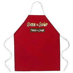 'Born to Shop Forced To Cook' Apron-Red
