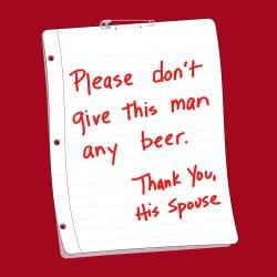 'Please Don't Give This Man Any Beer, Thank You His Spouse' Kitchen Apron-Red - Thumbnail 1