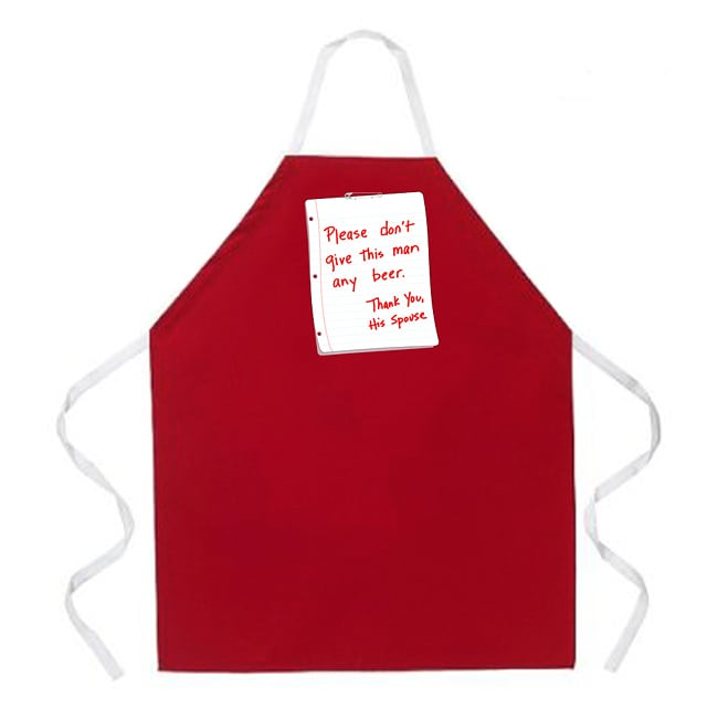 'Please Don't Give This Man Any Beer, Thank You His Spouse' Kitchen Apron-Red