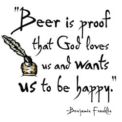 'Beer is Proof That God Loves Us And Wants Us To Be Happy' Kitchen Apron-Natural