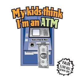 'My Kids Think That I'm An ATM' Kitchen Apron'-Natural - Thumbnail 1
