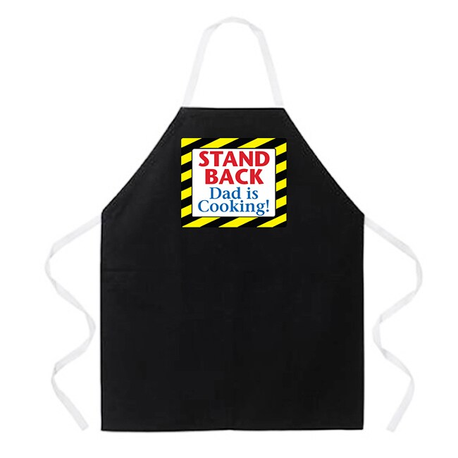 'Stand Back Dad Is Cooking' Kitchen Apron-Black