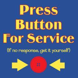 'Press Button For Service' Kitchen Apron-Dark Blue
