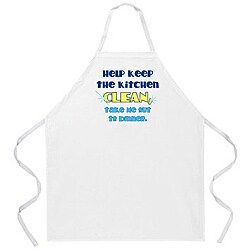 'Help Keep Kitchen Clean, Take Me Out To Dinner' Kitchen Apron'-White