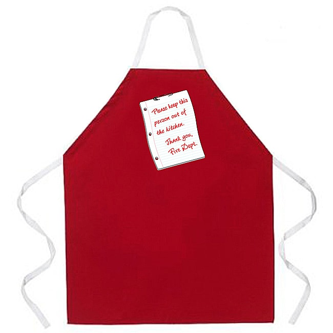 'Please Keep This Person Out Of The Kitchen' Fire Dept Note Kitchen Apron-Red