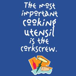 'The Most Important Utensil In the Kitchen Is The Corkscrew' Kitchen Apron-Blue
