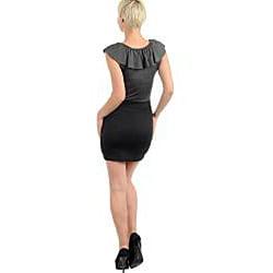 Stanzino Women's Black/ Grey Ruffled Collar Mini Dress