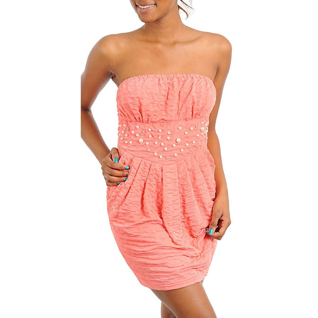 Stanzino Women's Peach Strapless Mini Dress