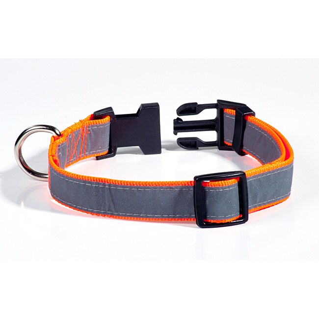 Petflect Orange/Gray Reflective Nylon/Plastic Adjustable Dog Collar