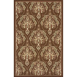 Outdoor South Beach Brown Damask Rug (3'9 x 5'9)