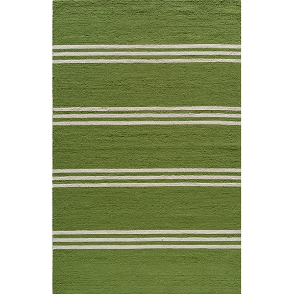 South Beach Indoor/Outdoor Lime Stripes Rug (5' x 8')