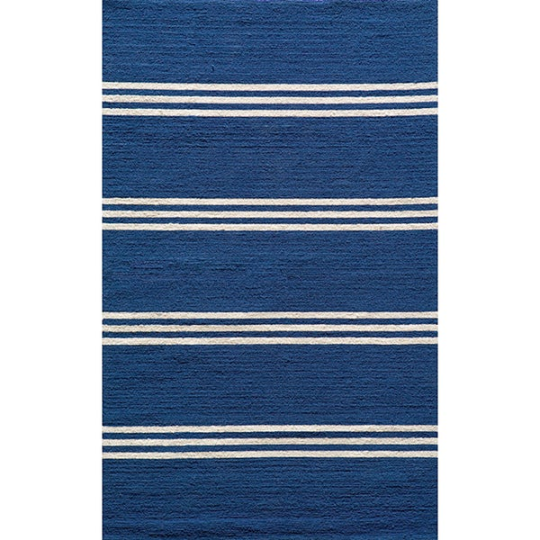 South Beach Indoor/Outdoor Blue Stripes Rug (2' x 3')
