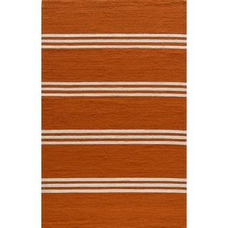 "South Beach Indoor/Outdoor Orange Stripes Rug (3'9"" x 5'9"")"