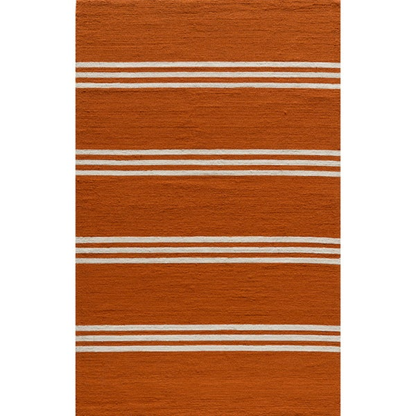 Momeni Veranda Tangerine Stripes Indoor/Outdoor Rug (3'9 X 5'9) - 3'9 x 5'9