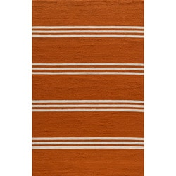 "South Beach Indoor/Outdoor Orange Stripes Rug (3'9"" x 5'9"")"