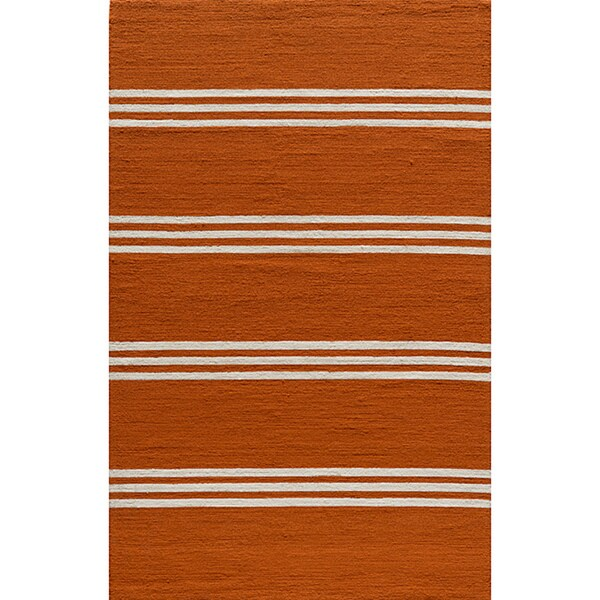 Momeni Veranda Tangerine Stripes Indoor/Outdoor Rug (5' X 8')